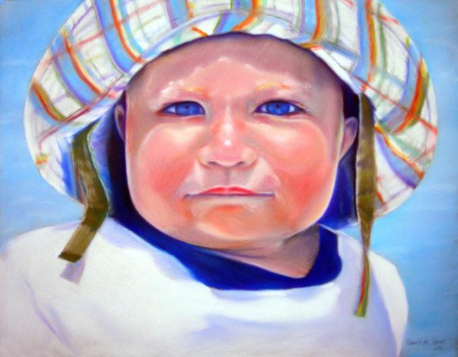 "Baby Pastel Portrait, 22"" x 28"", Pastel on Paper, 2007, by Artist Bonnie Lee Turner"