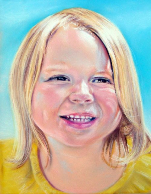 Adorable Girl Portrait, 22″ x 28″, Pastel on Paper, 2011, by Artist Bonnie Lee Turner