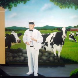 Bliss Dairy Farm Mural was Custom Designed and Hand Painted by Artists Bonnie Lee Turner and Charles Clear for Bliss Restaurant in Attleboro, Massachusetts