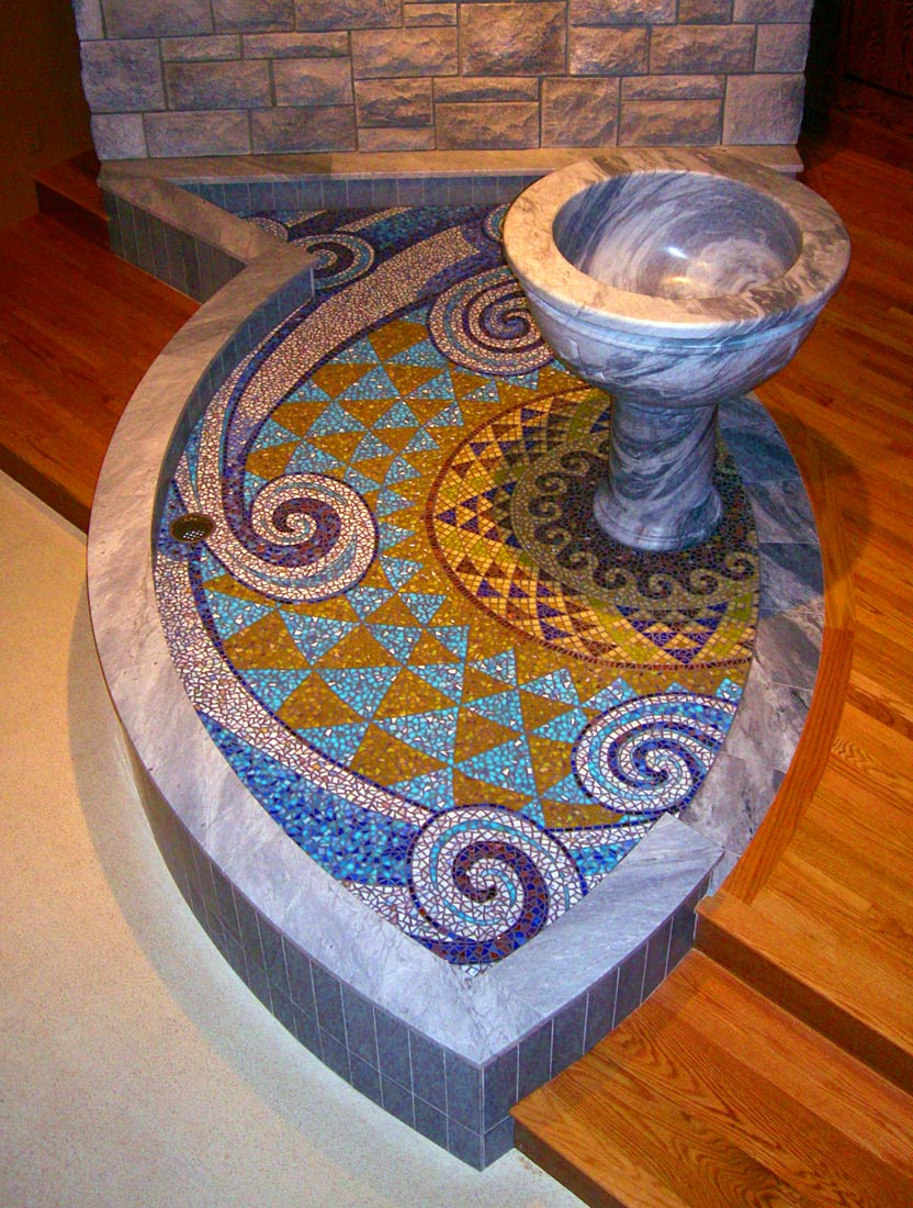 Living Water Church Mosaic by Artists Bonnie Lee Turner and Charles C. Clear III was created for the altar of St. Agatha's Church in Woonsocket, RI