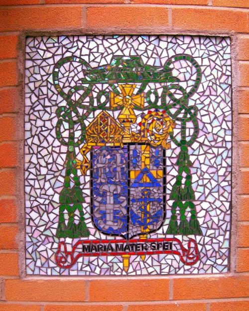 Catholic Coat of Arms Mosaic was created by Artist Bonnie Lee Turner for the entrance to St. Agatha's Church in Woonsocket, RI