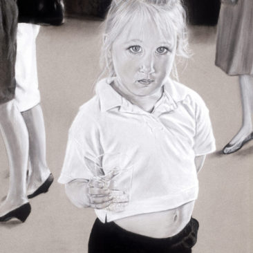 Cute Girl Candid Portrait, 22″ x 28″, Charcoal and Pastel on Paper, by Artist Bonnie Lee Turner