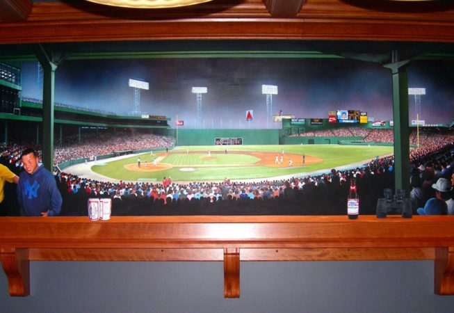 Fenway Park Mural by Artist Bonnie Lee Turner is a trompe loeil Mural that features a view of the Red Sox from the Fenway Park Grandstand