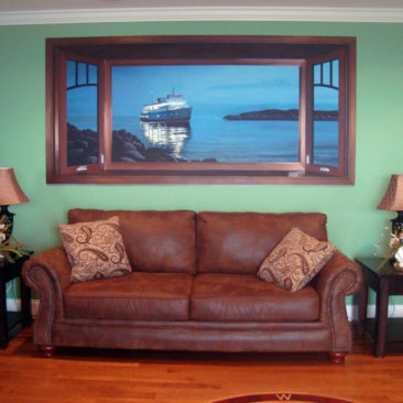 Block Island Ferry Trompe loeil Mural by Artists Bonnie Lee Turner and Charles Clear was painted in a seaside residence in Narragansett, Rhode Island