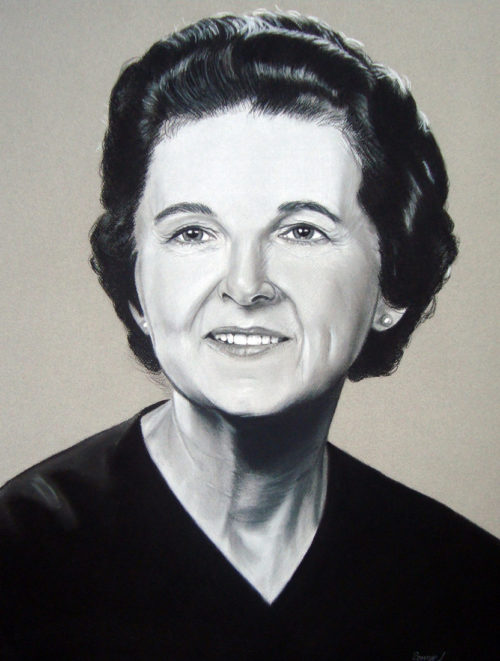 Florence Murray Portrait hand drawn by Artist Bonnie Lee Turner features Rhode Island's first female Judge and Supreme Court Justice
