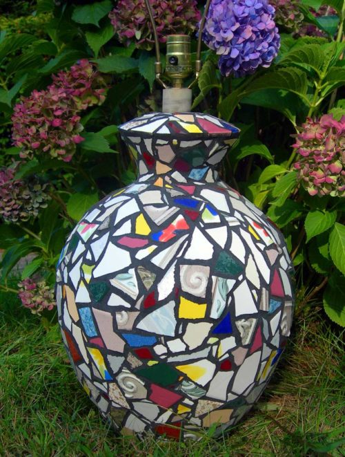 Hand Crafted Decorative Mosaic Lamp by Fine Artist Bonnie Lee Turner was made with various colored hand cut Ceramic Tile arranged like a design by Mondrian