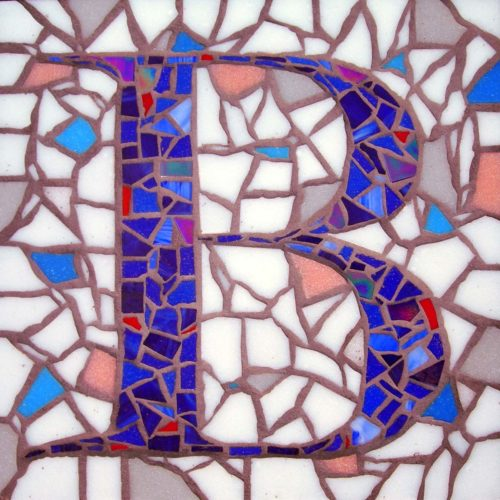"""Mosaic Wayfinder or House Identifier, Glass Tile, Cement Substrate, 18″ x 18"""", by Artist Bonnie Lee Turner is art that marries form and function"""