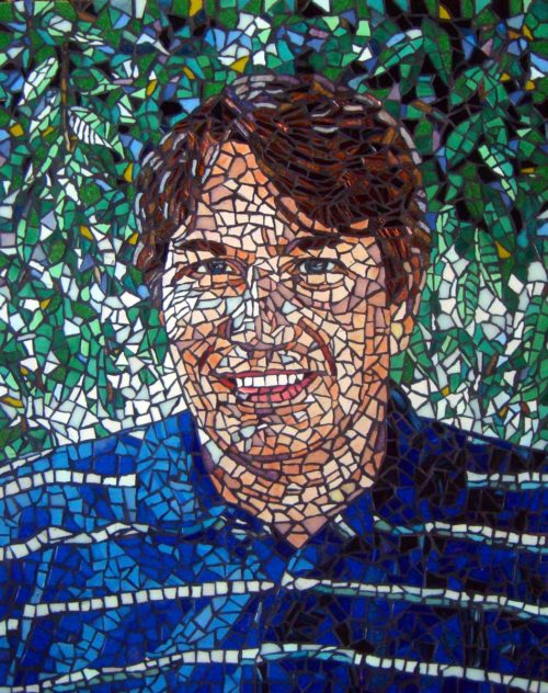 Mosaic Portrait Art by Fine Artist Bonnie Lee Turner was created with glass tile and features a college professor from Cambridge, Massachusetts