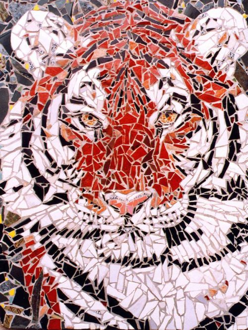 Mosaic Tiger made out of ceramic tile was hand crafted by Artist Bonnie Lee Turner and features the majesty of the world's most endangered cat