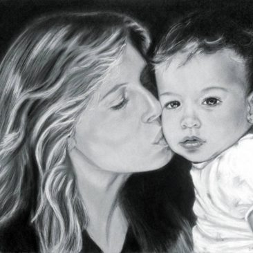 "Mother and Child Portrait, 22 "" x 28 "", Charcoal and Pastel on Paper, 1990, by Artist Bonnie Lee Turner"