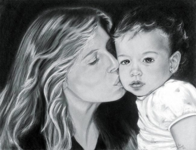 """Mother and Child Portrait, 22 """" x 28 """", Charcoal and Pastel on Paper, 1990, by Artist Bonnie Lee Turner"""