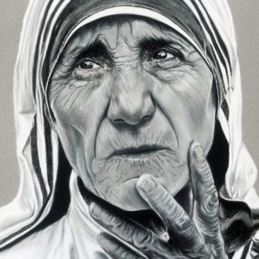 Mother Teresa Portrait, 22″ x 28″, Charcoal and Pastel on Paper, 1990, by Artist Bonnie Lee Turner