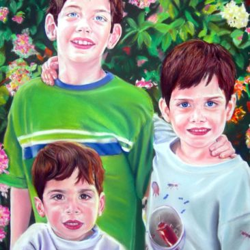Pastel Portraits of Three Brothers by Artist Bonnie Lee Turner was painted in Pastel on acid free Paper and features three boys from Vermont