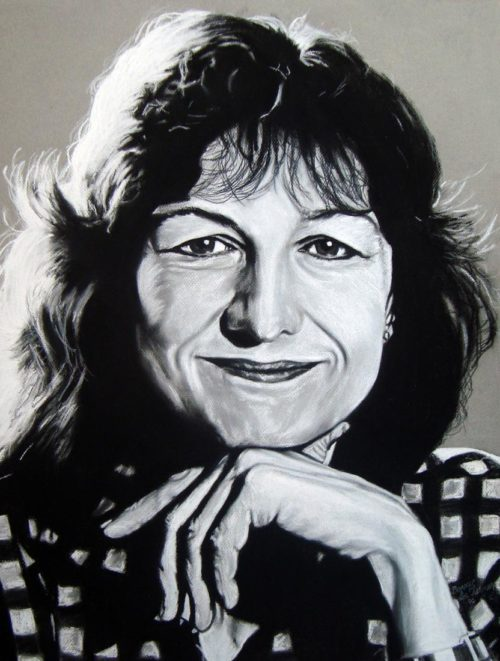 Claudine Schneider Portrait, 20″ x 25.5″, Charcoal and Pastel on Paper, 1990, by Artist Bonnie Lee Turner