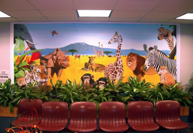 Serengeti Wild Animal Mural by Artists Bonnie Lee Turner and Charles C. Clear III was painted for a Pediatric Waiting Area at South Shore Medical Center in Norwell, Massachusetts