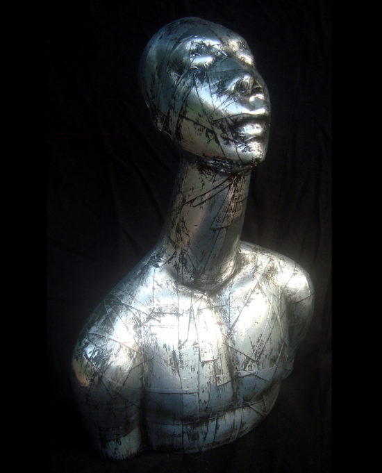 "Shaman, Mixed Media Objet Trouvé sculpture, 9.5"" x 6"" x 3"", 2015, by Artist Bonnie Lee Turner"