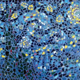 Starry Night Mosaic Pastiche by Artist Bonnie Lee Turner transforms Vincent Van Gogh's famous painting into a Mosaic work of art