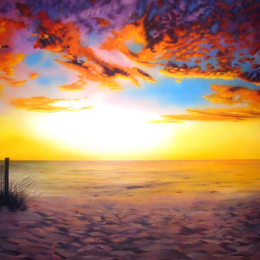 Sunrise Residential Mural by Artists Bonnie Lee Turner and Charles C. Clear III features a spectacular sunrise over the beach in Narragansett, Rhode Island