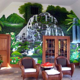 Hand Painted Hawaiian Waterfall Mural by Bonnie Lee Turner and Charles C. Clear III transforms the solarium of a private residence in Sherborn, MA