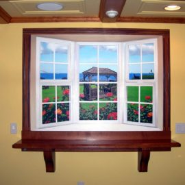 Trompe loeil Window Mural was painted in a private residence in Lincoln Rhode Island by Artists Bonnie Lee Turner and Charles C. Clear III