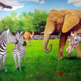 Roger Williams Park Zoo Mural painted in treatment room at the Pediatric Heart Center in Providence, RI by Bonnie Lee Turner and Charles Clear