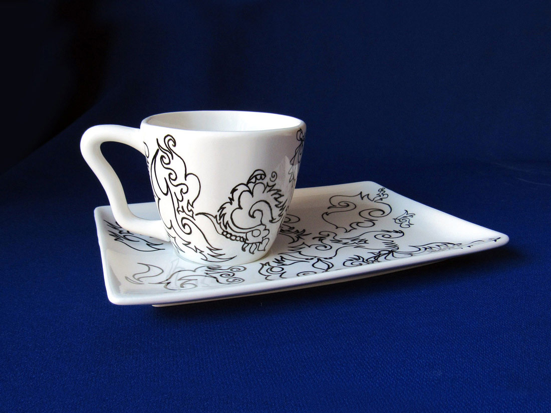 "Contemporary Tea Cup and Saucer, 9"" x 6"", Automatique Drawing over Porcelain, 2016, by Artist Bonnie Lee Turner"