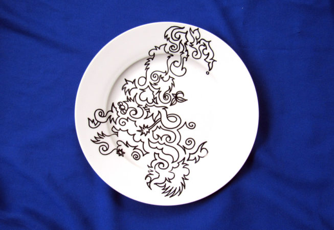 'Edible Art', Whimsical Design, 10″ Flatware, 2016 by Bonnie Lee Turner