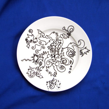 "One Hot Dish, Automatique Drawing over Porcelain, 10"" Dinnerware, 2016, by Bonnie Lee Turner"
