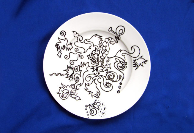 """One Hot Dish, Automatique Drawing over Porcelain, 10"""" Dinnerware, 2016, by Bonnie Lee Turner"""
