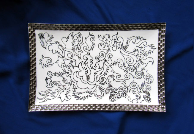 """Feast for the Eyes, Whimsical Design, Automatique Drawing over Porcelain, 11"""" x 17"""" Silver Lined Platter, 2017, by Bonnie Lee Turner"""