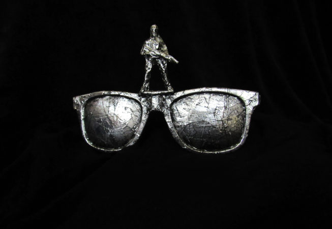 "'Singlasses' Metallic Glasses, 6"" x 2.5"" x 6"", Mixed Media, 2014 by Bonnie Lee Turner"