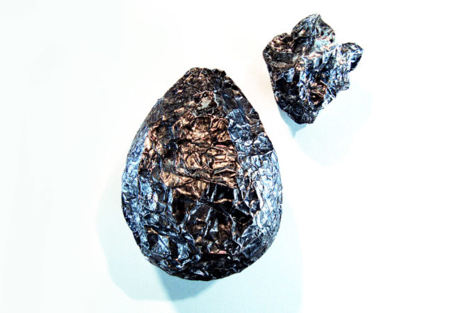 """'Meteorites', 9"""" x 7"""" and 5"""" x 5"""", Mixed Media / Objet Trouvé, 2016 by Bonnie Lee Turner"""