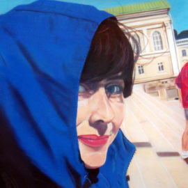 "Blue Woman Pastel Painting, 22 "" x 28 "", Pastel on Paper, 2002, by Artist Bonnie Lee Turner"