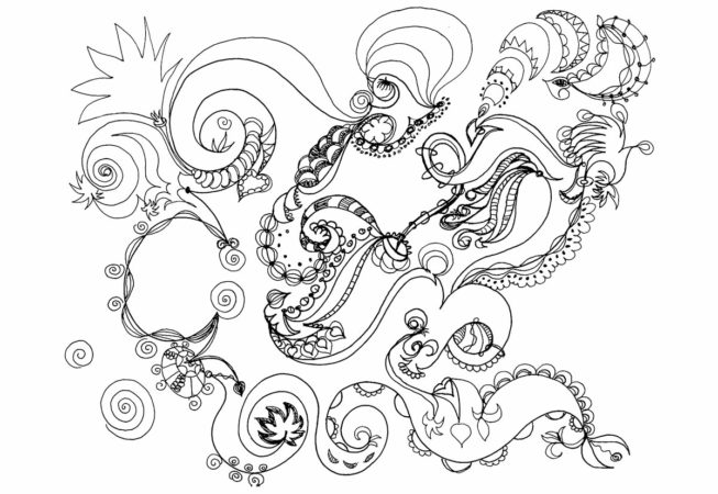 """Birth, Ink on Archival Paper, 9"""" x 12"""", 2016, Automatique Drawing, by Artist Bonnie Lee Turner"""