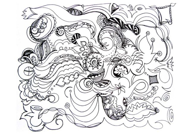 """Sailing, Ink on Archival Paper 9"""" x 12"""", 2016, Automatique Drawing, by Artist Bonnie Lee Turner"""