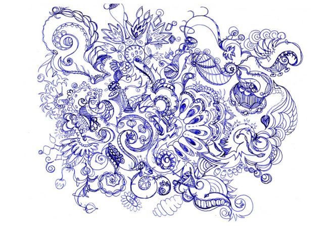 "Symphony, Ink on Archival Paper, 9"" x 12"", 2015, Automatique Drawing, by Artist Bonnie Lee Turner"