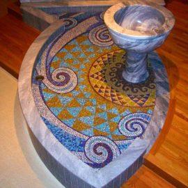 Living Water Church Mosaic, 12′ x 6′, 2007, Altar of St. Agatha's Church, Woonsocket, RI, by Artist Bonnie Lee Turner