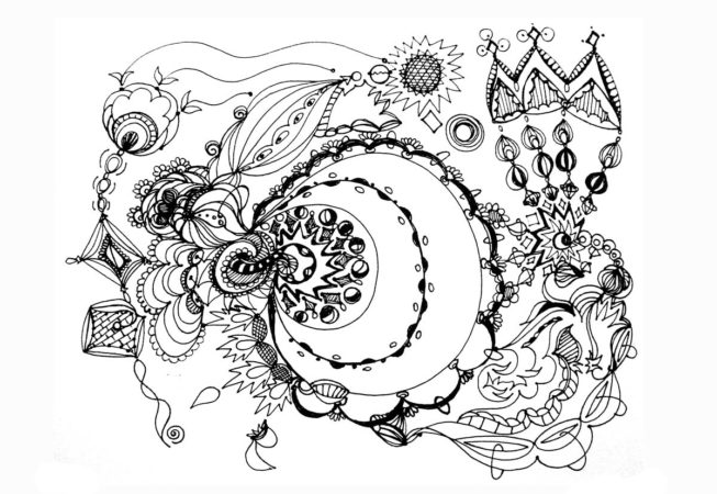 """Kings Court, Ink on Archival Paper, 9"""" x 12"""", 2017 by Artist Bonnie Lee Turner"""