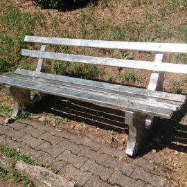 "Park Bench #47, 52"" x 17.5"" x 18"", Re-purposed Park Bench, Permanent Installation, ARTPark Horb, Horb Am Neckar, Germany"